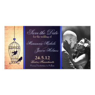 Fanciful Birdcage Photo Save the Date Blue Ribbon Card