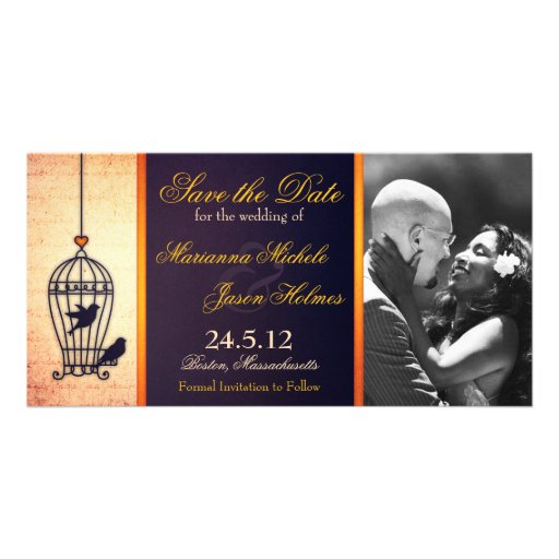 Fanciful Birdcage Photo Save the Date Gold Ribbon Personalized Photo Card