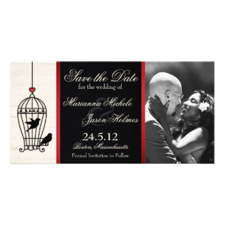 Fanciful Birdcage Photo Save the Date Red Ribbon Card