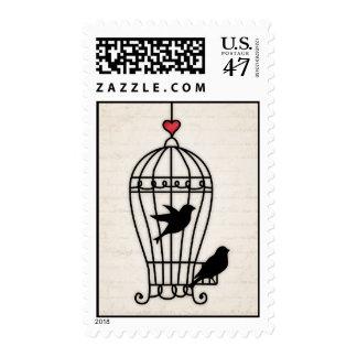 Fanciful Birdcage & Romantic Heart Wedding Postage