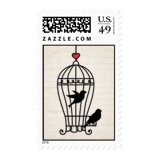 Fanciful Birdcage & Romantic Heart Wedding Postage
