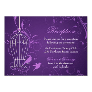 Fanciful Birdcage & Swirls Aubergine Reception Card