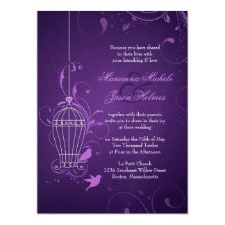 "Fanciful Birdcage & Swirls Aubergine Wedding 6.5"" X 8.75"" Invitation Card"