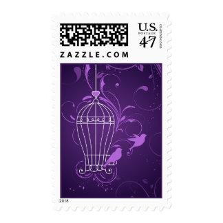 Fanciful Birdcage & Swirls Aubergine Wedding Postage Stamp