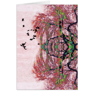 Fanciful birds and tree note card