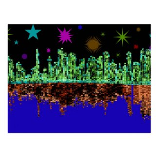 Fanciful City Skyline Postcard