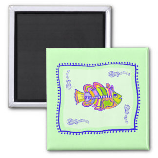 Fanciful Fish Quilt Fridge Magnets