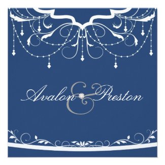 Fanciful Floral Chandelier Blue Wedding Invitation