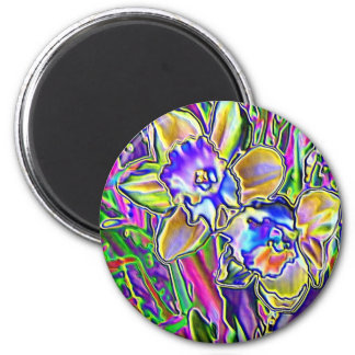 Fanciful Flowers #5 - Blue & Yellow Daffodils Magnet