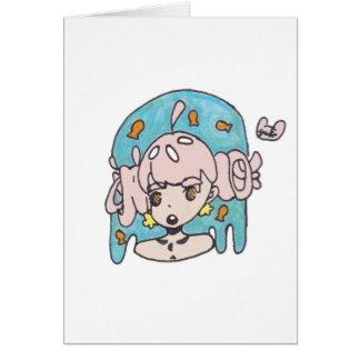 Fanciful goldfish girl card