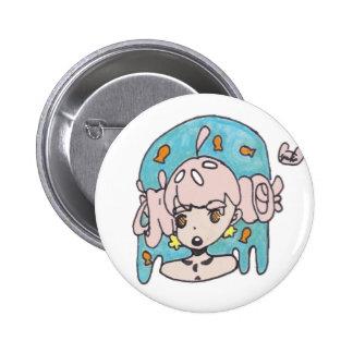 Fanciful goldfish girl pinback button