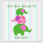 Fanciful Green and Pink Elephants (Les Elephants) Square Sticker