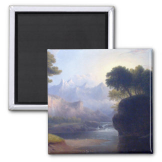 Fanciful Landscape by  Thomas Doughty 2 Inch Square Magnet