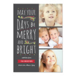 Fanciful Merry & Bright 3 Photo Christmas Card
