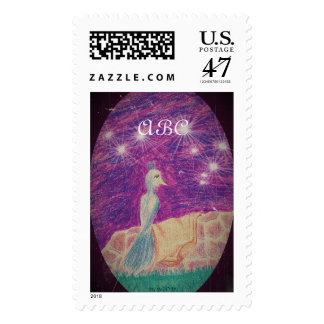 Fanciful Nightingale Fantasy Night Sky Postage