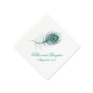 Fanciful Peacock Feather   Wedding Napkins