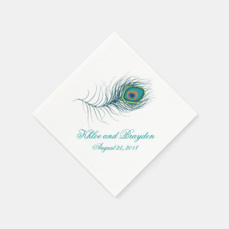 Fanciful Peacock Feather | Wedding Disposable Napkin