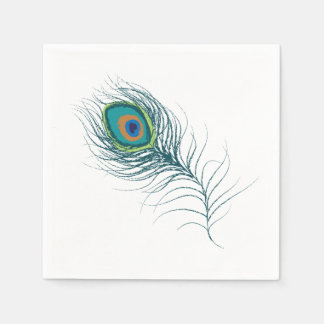 Fanciful Peacock Feather Wedding Paper Napkin