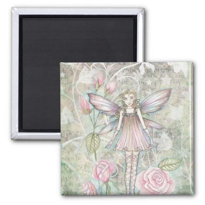 Fanciful Rose Fairy 2 Inch Square Magnet