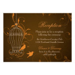 Fanciful Swirls Birdcage Orange & Brown Reception Personalized Invites