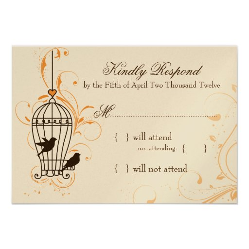 Fanciful Swirls Birdcage Orange & Brown RSVP Personalized Announcement