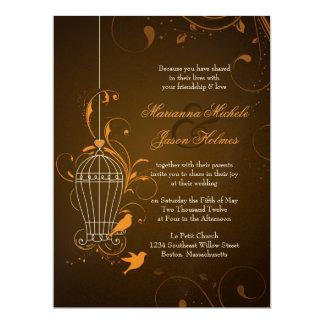 "Fanciful Swirls Birdcage Orange & Brown Wedding 6.5"" X 8.75"" Invitation Card"