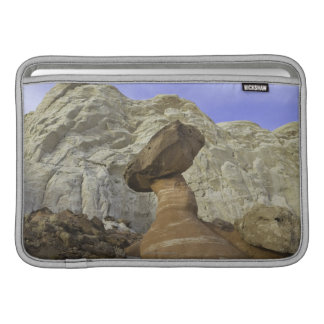 Fanciful toadstool shape of eroded red and white MacBook air sleeves