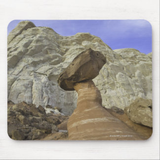 Fanciful toadstool shape of eroded red and white mouse pad