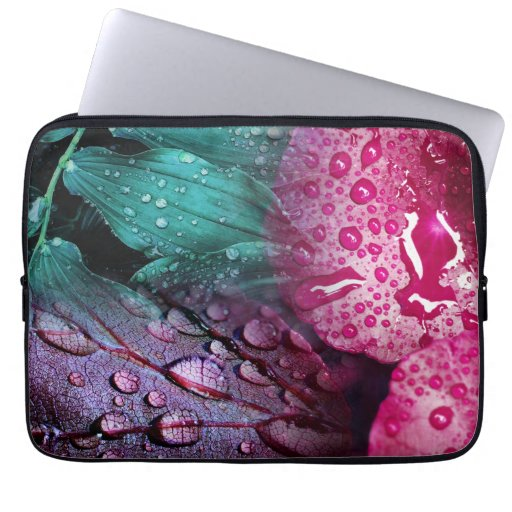 Fanciful Wet Leaves Laptop Sleeve