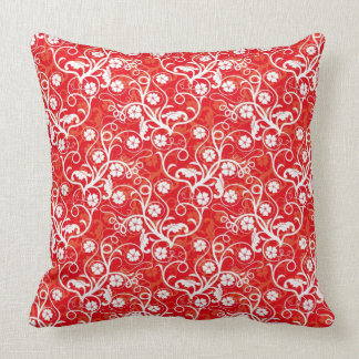 Fanciful White Flowers and Curly Vines on Red Throw Pillow
