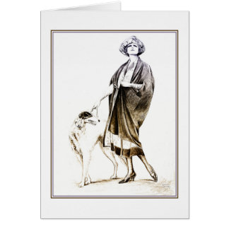 Fancy 1920s glamour lady and her dog greeting card