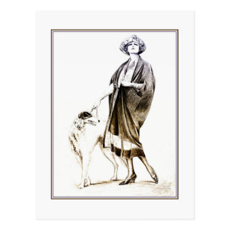Fancy 1920s glamour lady and her dog postcard