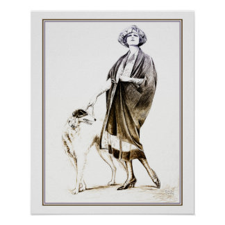 Fancy 1920s glamour lady and her dog poster