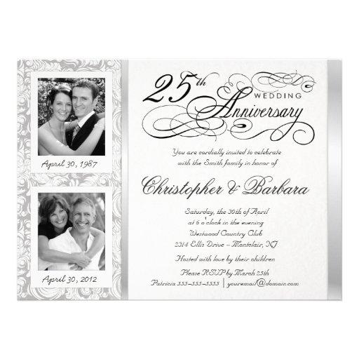 Fancy 25th Anniversary Invitations