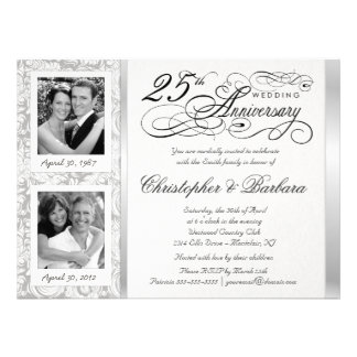 Fancy 25th Anniversary Invitations - Then Now