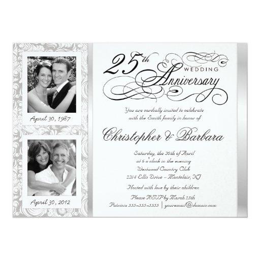 "Fancy 25th Anniversary Invitations - Then & Now 6.5"" X 8.75"" Invitation Card"