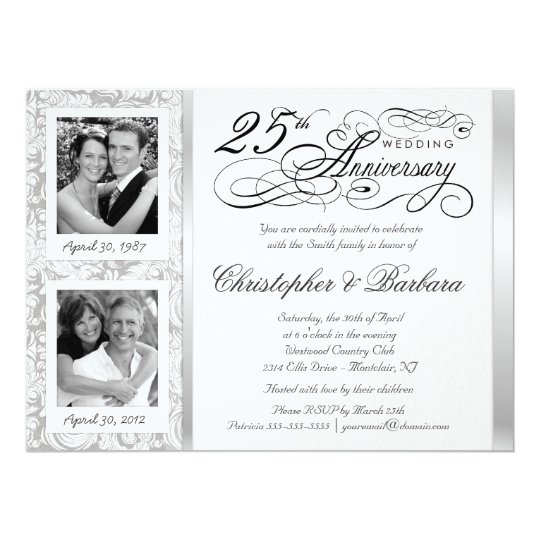 Fancy 25th Anniversary Invitations Then Now Zazzlecom