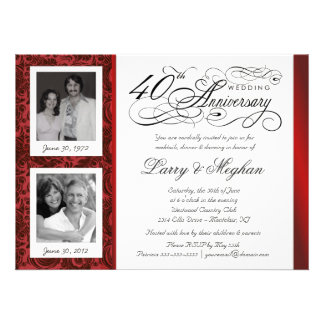 Fancy 40th Anniversary Invitations - Then Now