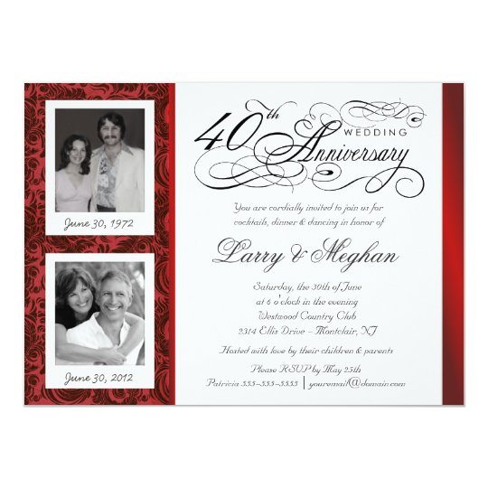 Fancy 40th anniversary invitations then now zazzle for 40th wedding anniversary invitations