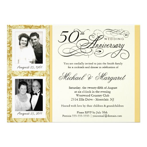 Fancy 50th Anniversary Invitations Your Photos
