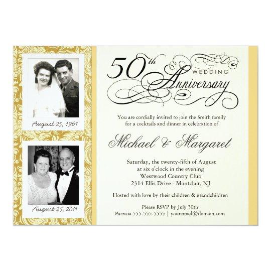 Fancy 50th Anniversary Invitations Your Photos Zazzlecom