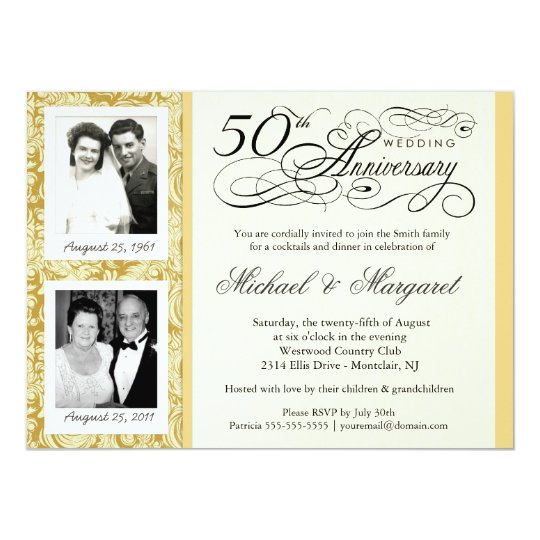Fancy 50th Anniversary Invitations Your Photos Zazzle Com