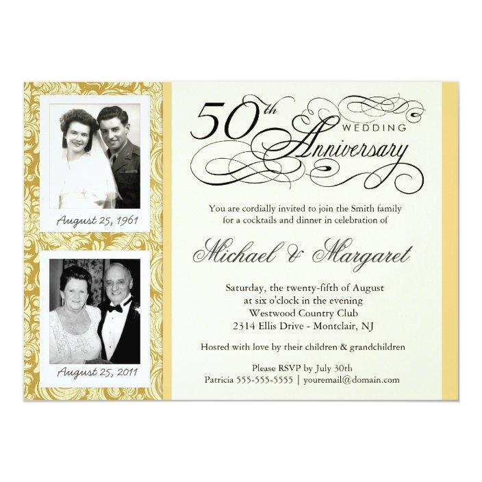 Fancy 50th Anniversary Invitations Your Photos Zazzle Com
