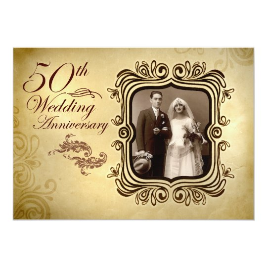 fancy 50th wedding anniversary invitations zazzle