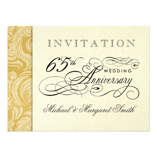 Fancy 65th Anniversary Invitations - Then & Now (back side)