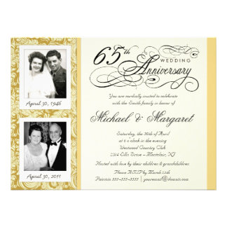 Fancy 65th Anniversary Invitations - Then Now