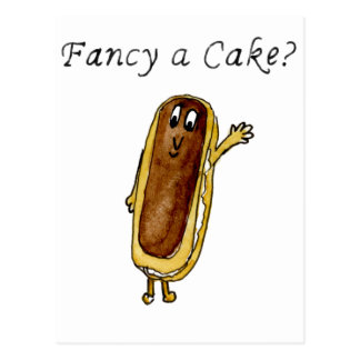 Fancy A Cake Funny Chocolate Eclair Quirky Art Postcard