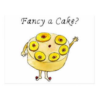 Fancy a cake? Funny pineapple upside down cake Postcard