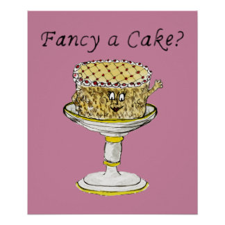 Fancy a cake Funny Quirky watercolour Art Design Poster