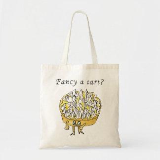 Fancy a tart? Funny lemon meringue pie novelty art Budget Tote Bag